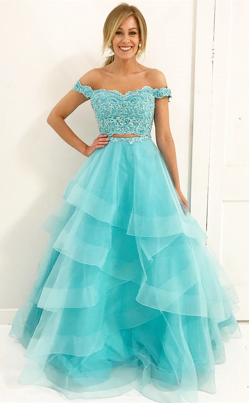 two piece blue long prom dress, off the shoulder blue prom