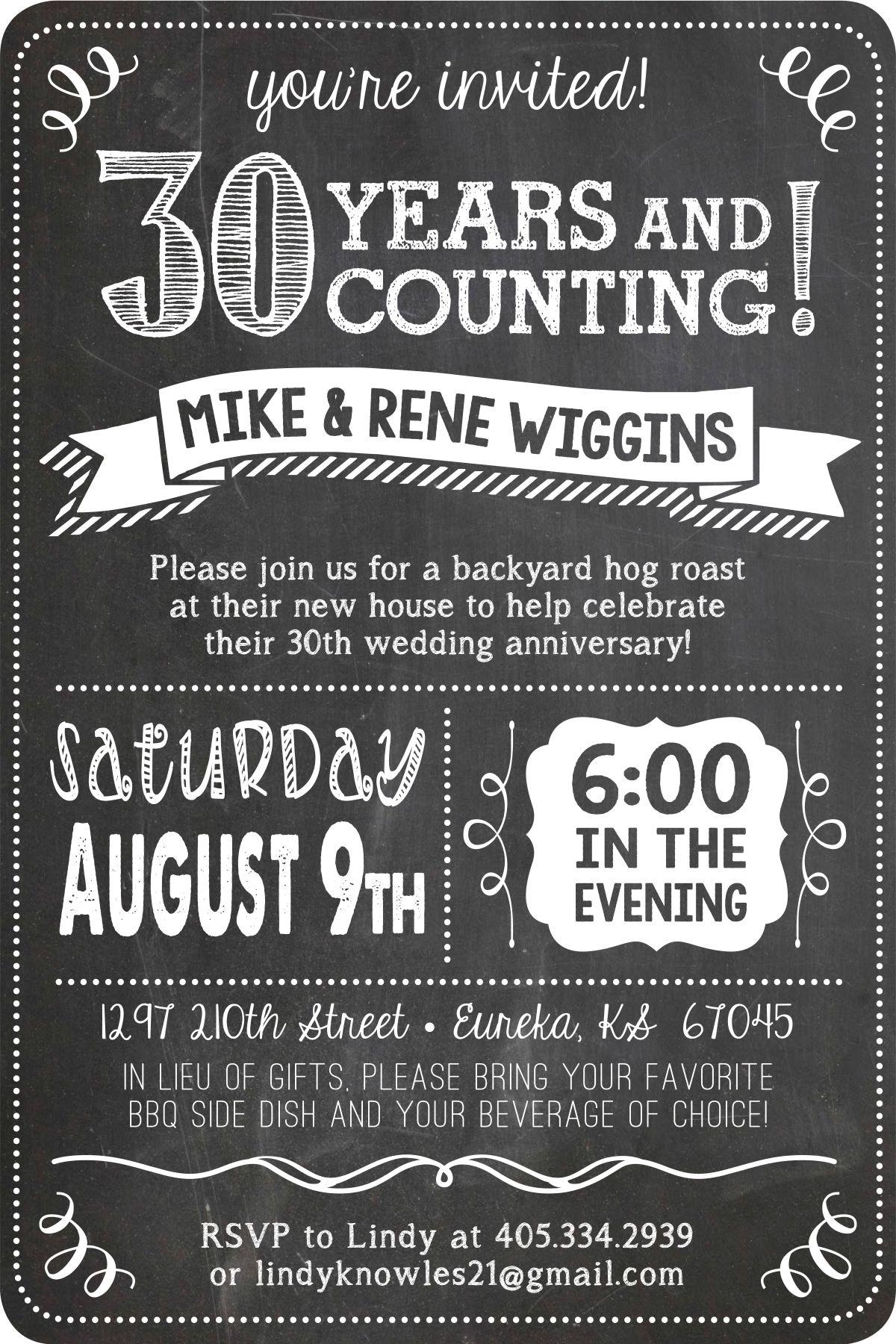 30th Anniversary Party Invite