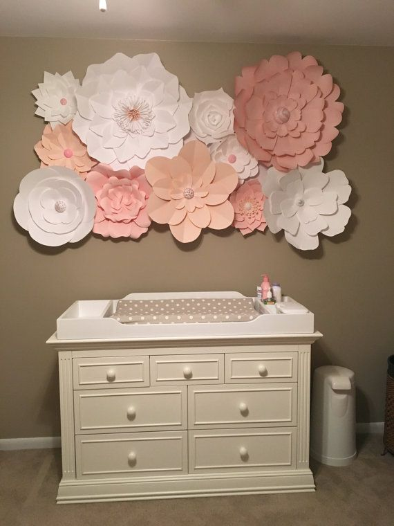 Large paper flowers set of 15 paper flower wall baby nursery set of 15 large paper flowers up to 5 by dreameventsinpaper mightylinksfo