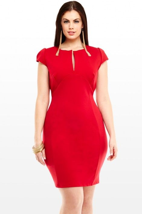 d4a8546091cd3 2-2-14 Fashion Find - Sheila Split V-Neck Dress From Fashion to Figure.  Rayon Nylon Spandex. Available in sizes 1X-3X.