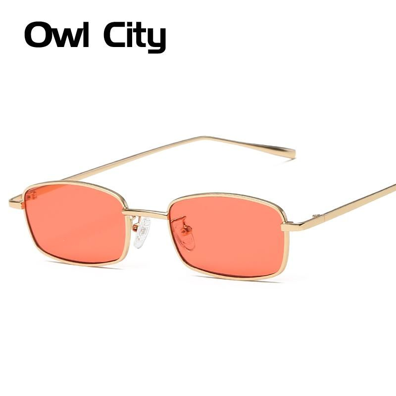 83fa4b908408 2018 Vintage Sunglasses Women Men Rectangle Glasses Brand Designer Small  Retro Shades Yellow Pink Sunnies sunglasses