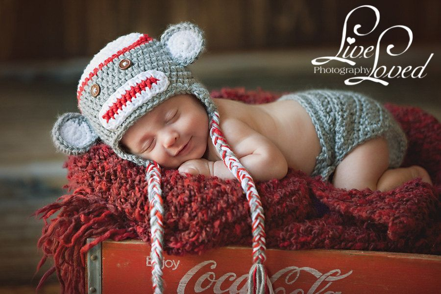 Download PDF crochet pattern - Sock Monkey hat and diaper cover ...