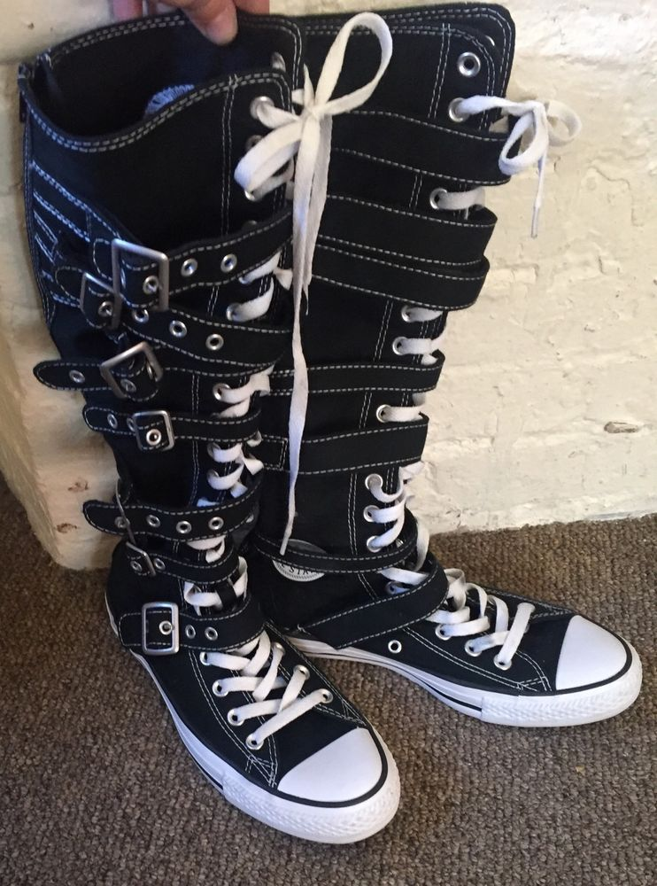 Converse All Star Black White Chuck Taylor Knee High Tops Buckles 6MENS  8WOMENS  a5fbabd18