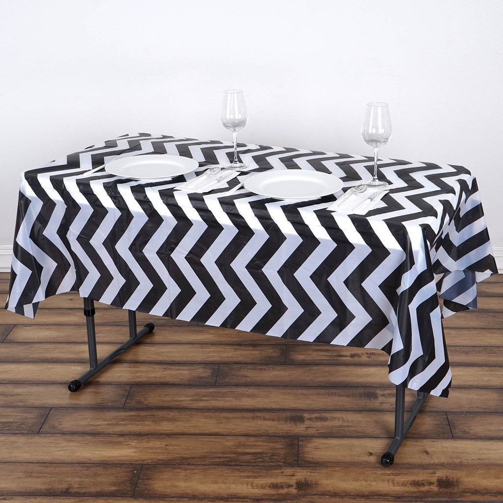 54 X 72 Black 10 Mil Thick Chevron Waterproof Tablecloth Pvc Rectangle Disposable Tablecloth In 2020 Plastic Table Covers Vinyl Tablecloth Waterproof Tablecloth