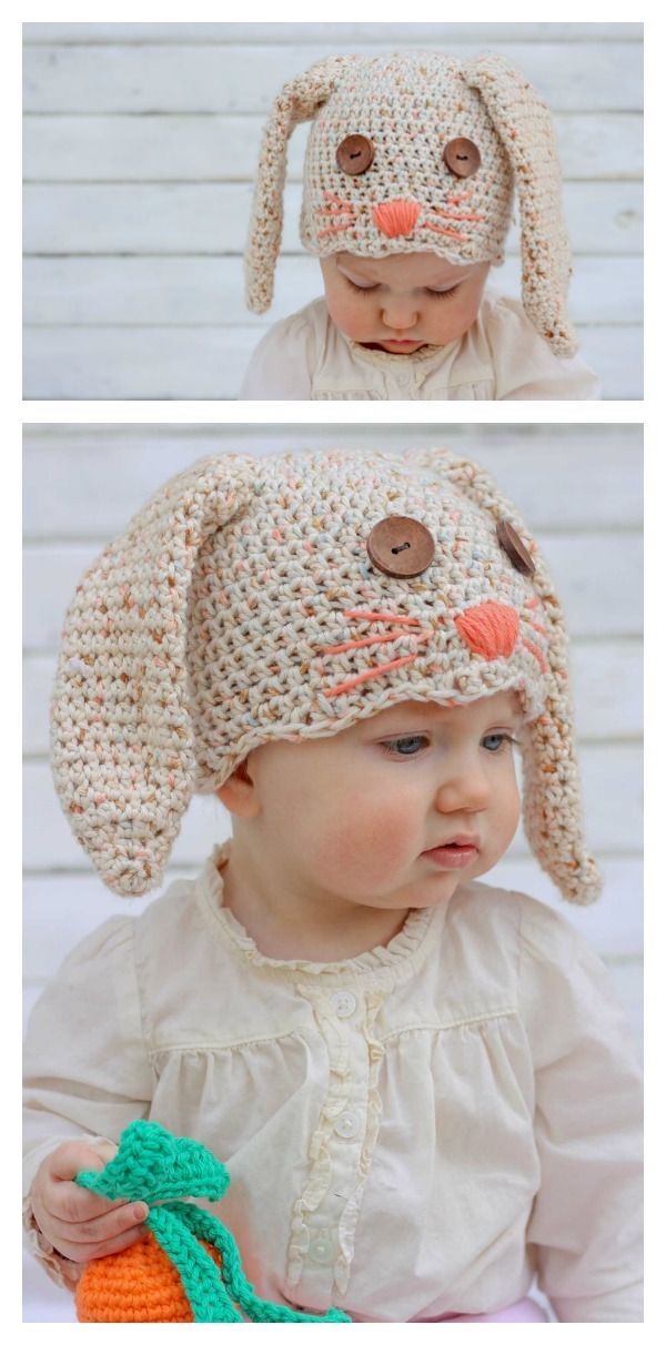 Adorable Crochet Bunny Hat Free Patterns for Easter | Crochet bunny ...