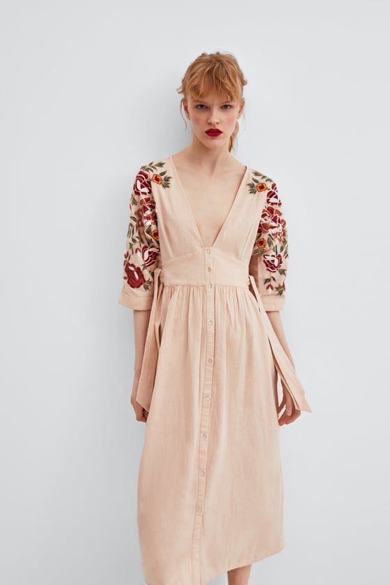 009ea591a Image 2 of EMBROIDERED V-NECK DRESS from Zara