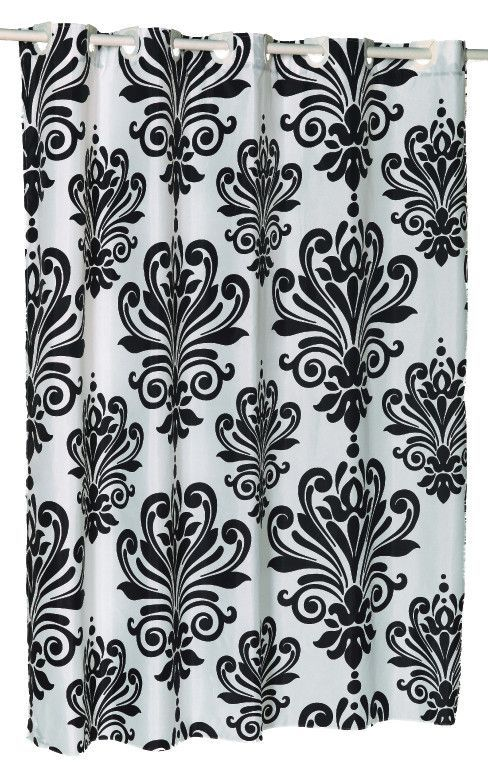 Ez On French Inspired Motif Fabric Shower Curtain Black White Fabric Shower Curtains Home Spa Decor Shower Curtain