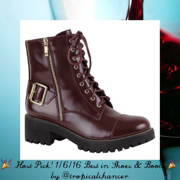 """❌SALE PENDING❌ NEW! Wine Combat / Moto Boots  Host Pick! 1/6/16 Best in Shoes & Boots by @tropicalchancer  Fabulous brand new in box wine colored combat / Moto boots with 1"""" heel and gold zipper/ buckle accents (outer zippers are decorative, inner are working)...adorable paired with leggings, skinny jeans or even a boho dress! ‼️ PLEASE NOTE...these are marked a size 6 however I wear a size 6.5/7 usually and these fit perfect (so perfect I have the same pair ) which is why I have them listed…"""