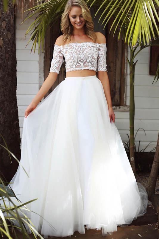 A line two piece off the shoulder detachable wedding dresses #brides #wedding #A... 2