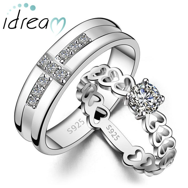 Cz Diamond Cross Wedding Band And Heart Link Engagement Ring Set Personalized Promise Rings In