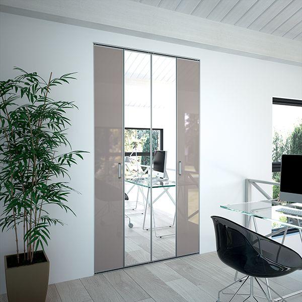 Kazed portes de placard pliantes m tallis basalte et for Placard miroir chambre