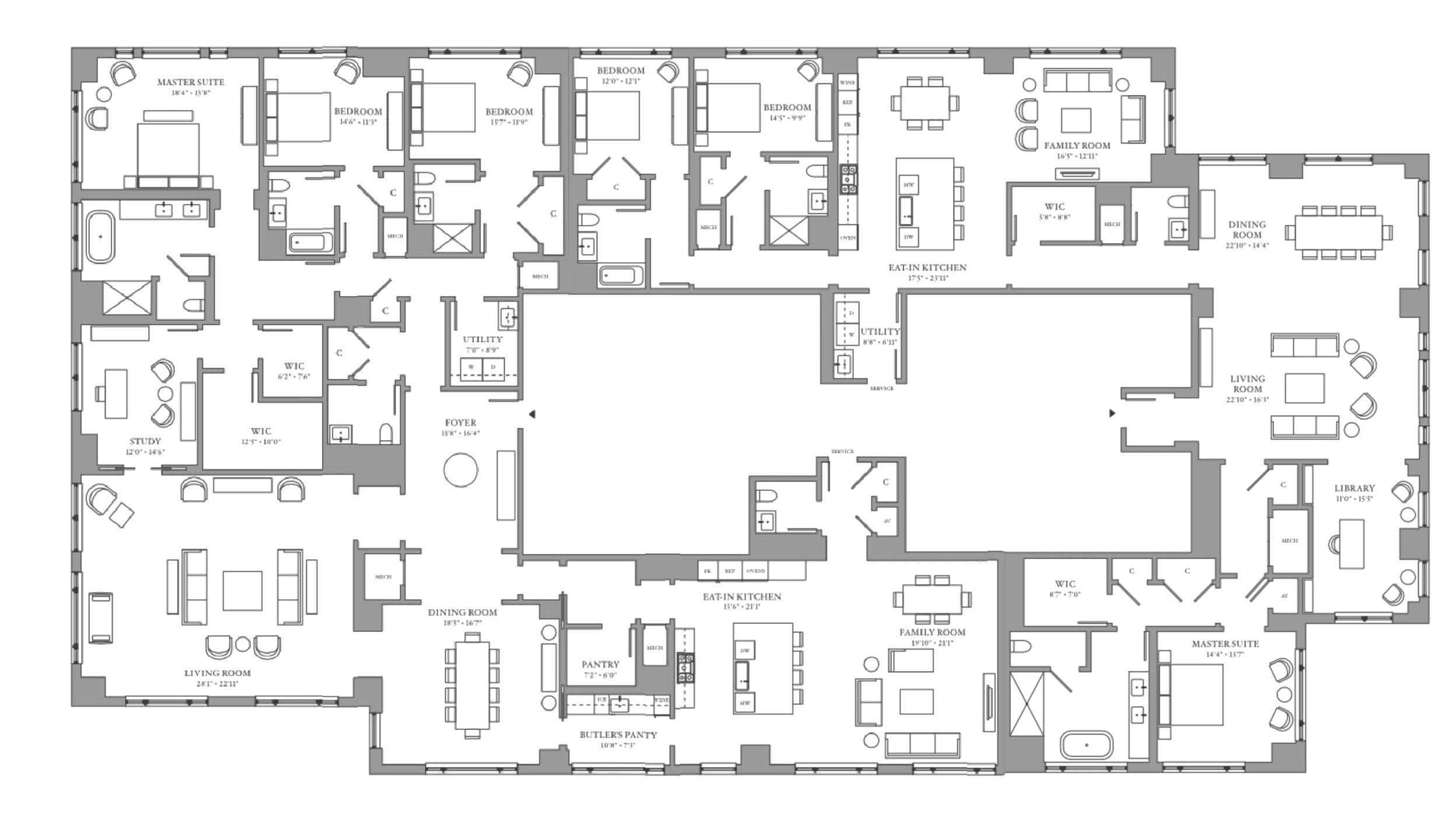 One Bennett Park Floor Plans Residence 11 12 451 E Grand Ave Chicago Il Floor Plans Bedroom Floor Plans Plan Design