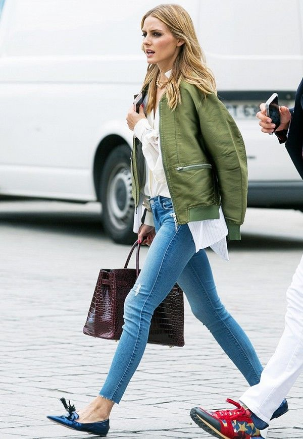 On Olivia Palermo  3.1 Phillip Lim Ribbed-Trip Satin Bomber Jacket and  Black Orchid Amber Zipper Skinny Suspicious 4334ab74c9ae
