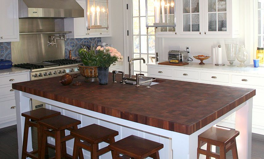 Granite Countertops With Butcher Block Island : Sapele Mahogany Butcher Block Island Countertop for a kitchen island in Edgewater, Maryland ...