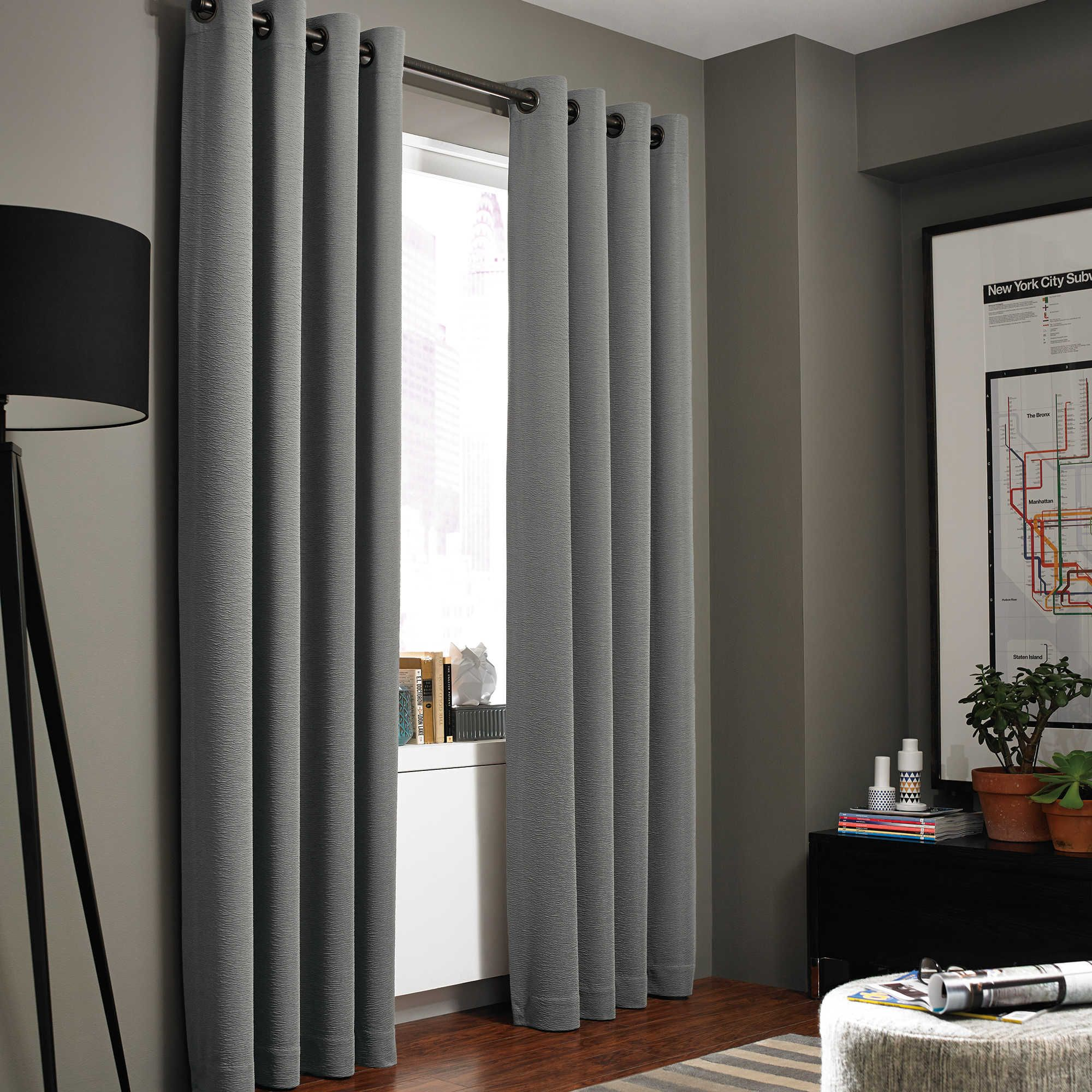 The Sleek Kenneth Cole Reaction Home Gotham Texture Lined Grommet Window Curtain Panel Features A Subtle