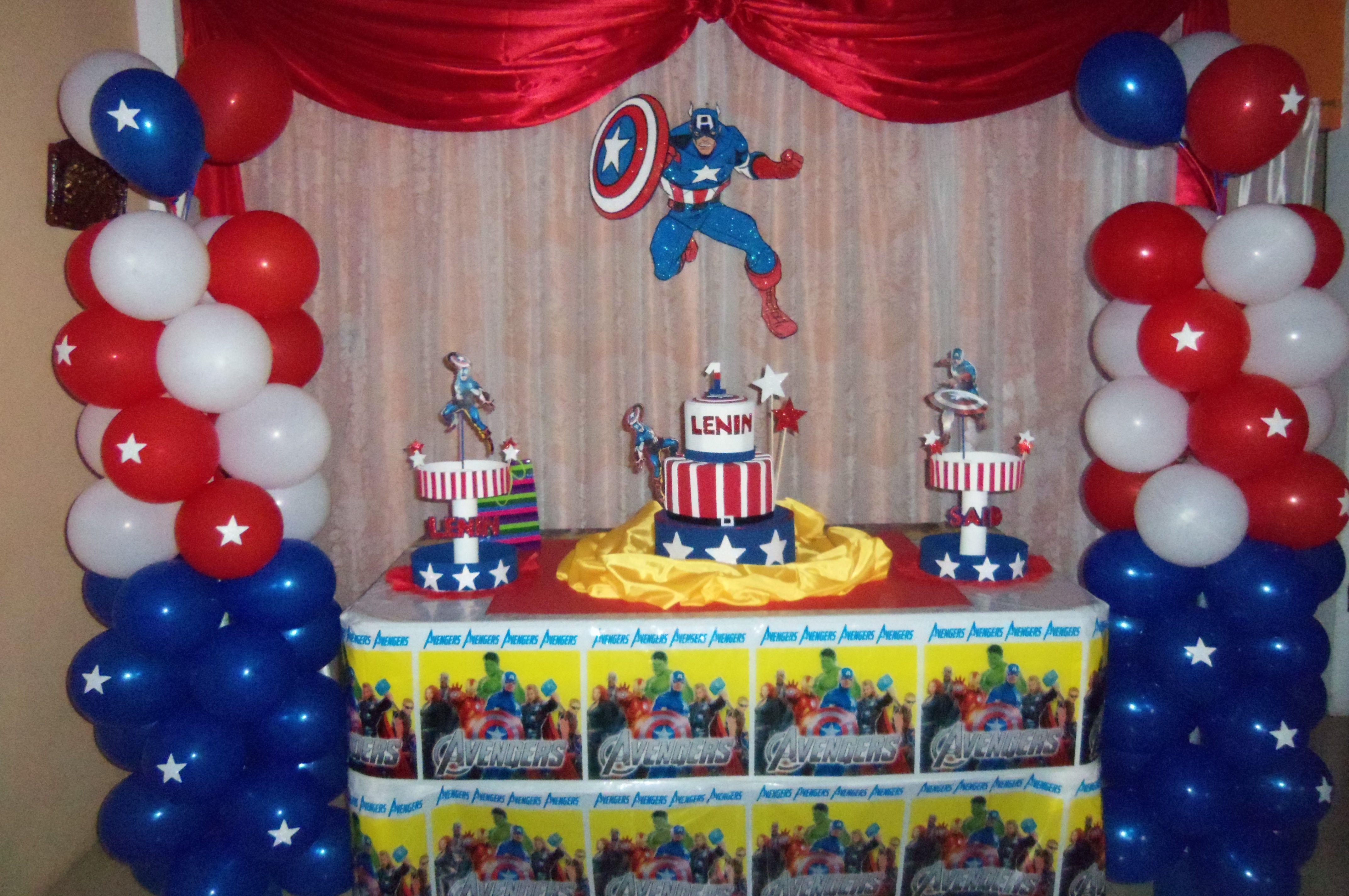Sencilla decoracion capitan america creaciones para - Decoracion fiesta de cumpleanos infantil ...