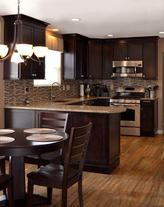 Designer Crystal Davidson Dark Wood Cabinetry Tile Backsplash