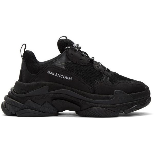 Balenciaga Black Triple S Sneakers (€700) ❤ liked on
