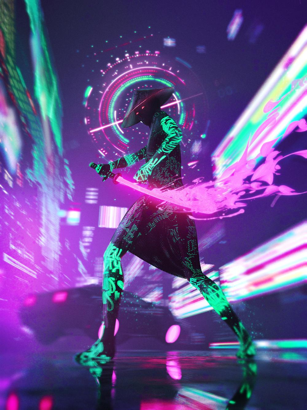 vertical, neon, cyberpunk, futuristic, samurai,