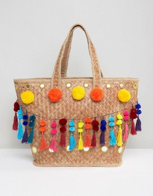 glamorous sac en paille avec pompon et pampilles asos shopping pinterest sac en paille. Black Bedroom Furniture Sets. Home Design Ideas