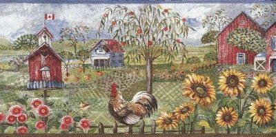 Wallpaper Border Rooster Sunflower Birdhouse Barn Farm