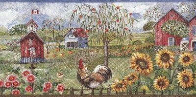 Wallpaper Border Rooster Sunflower Birdhouse Barn Farm Farmhouse Wallpaper Wallpaper Border Kitchen Wallpaper Border
