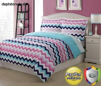 Girls Full Size Chevron Comforter Set Pink Blue Zigzag Microfiber
