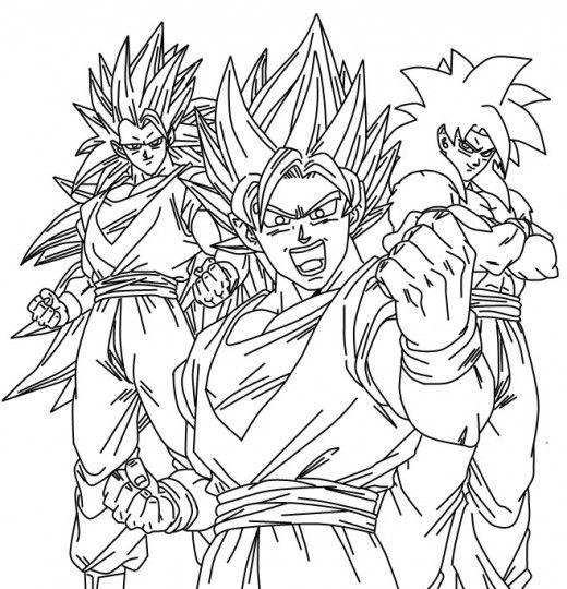 Dibujos De Goku Y Sus Transformaciones Para Colorear Colorear Imagenes Dibujos Dragones Dibujo De Goku