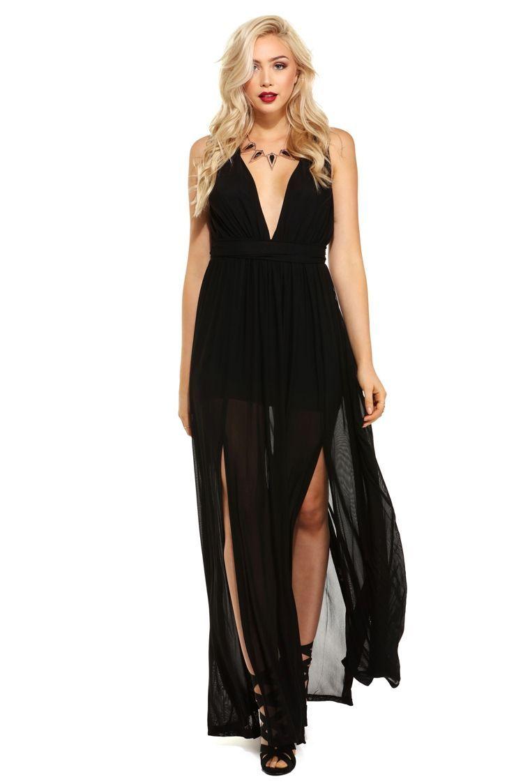 Arielle black mesh dress