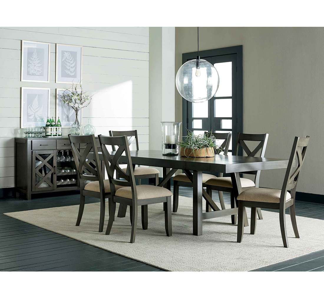 This Beautiful Collection Offers A Highly Sophisticated Look With Weathered Grey Finish The Dining Table Features Popular X Motif And Strut Style