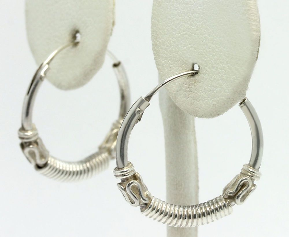 Sterling Silver Twisted Wire Wrapped Bali Endless Hoop Earrings