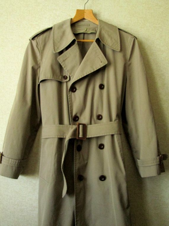 Vintage 90s Men Trench Coat Rain Coat Long Duster Jacket Outerwear Mens Trench Coat Beige Brown Button Up A Line Belted Raincoat Large Size