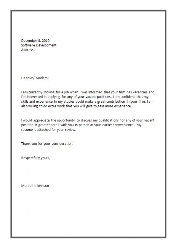 Standard Job Application Cover Letter Standard Cover Letter Format