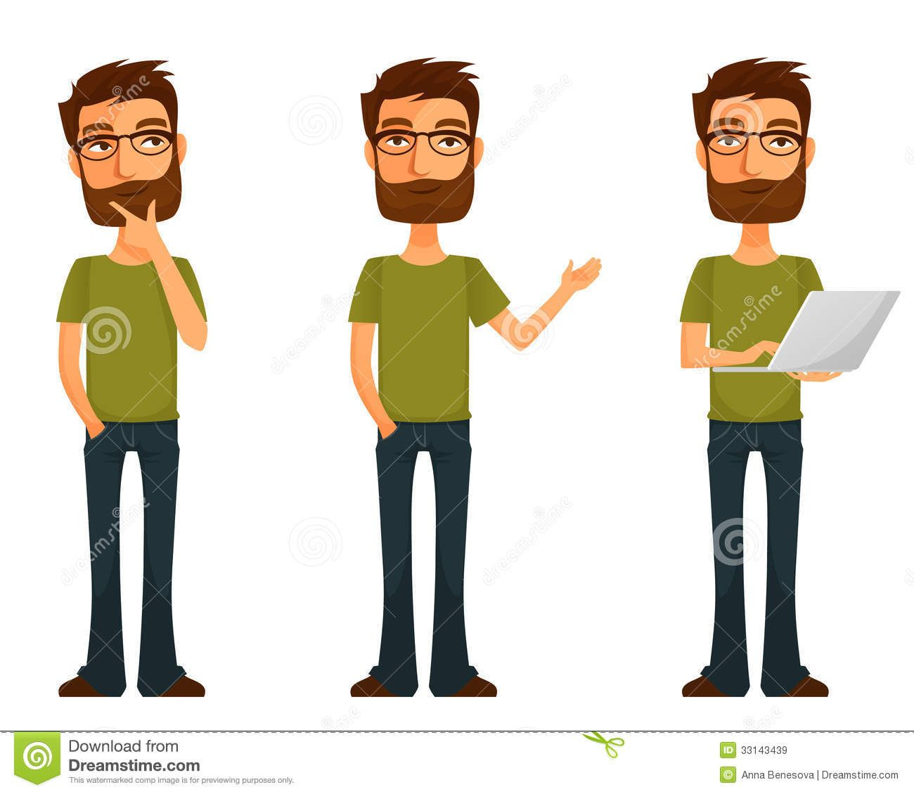 85daf6c8467 Cartoon Young Man With Beard And Glasses - Download From Over 30 Million  High Quality Stock Photos