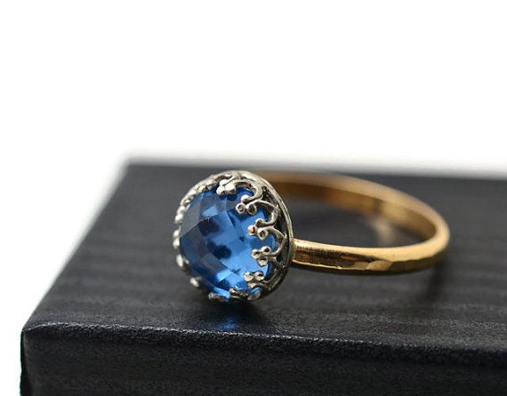 Blue Spinel Ring, 14K Gold Fill Engagement Ring, Handforged Gemstone Jewelry, Hammered Gold Ring