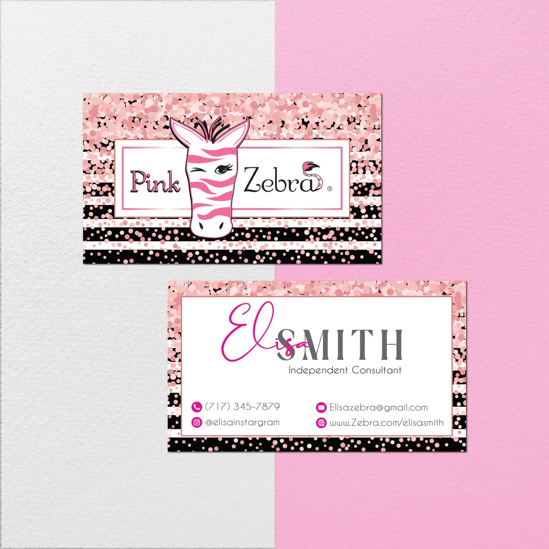 Pink Zebra Business Cards Glitter Personalized Pink Zebra Template Pz04 Pink Zebra Templates Cards