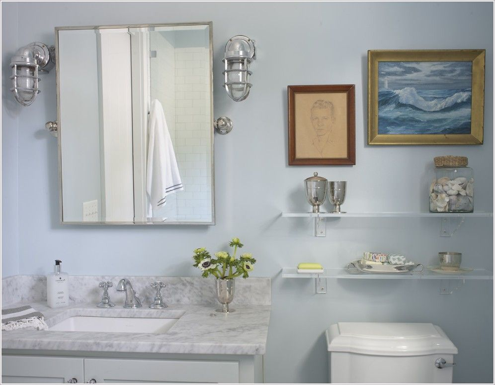 Nautical Convoy Lights As Sconces In A Coastal Bathroom