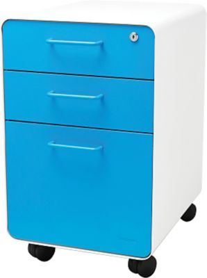 Poppin Stow File Cabinet Rolling 3 Drawer White Pool Blue 100919 At Staples In 2020 Filing Cabinet Drawers Cabinet