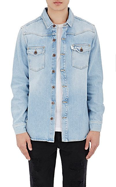 Off-White c/o Virgil Abloh Striped-Back Denim Shirt - Shirt - Barneys.com