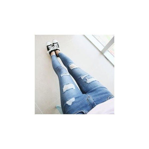 Distressed Skinny Jeans (1,170 MXN) ❤ liked on Polyvore featuring jeans, women, destroyed jeans, distressed skinny jeans, destructed jeans, ripped skinny jeans and denim skinny jeans