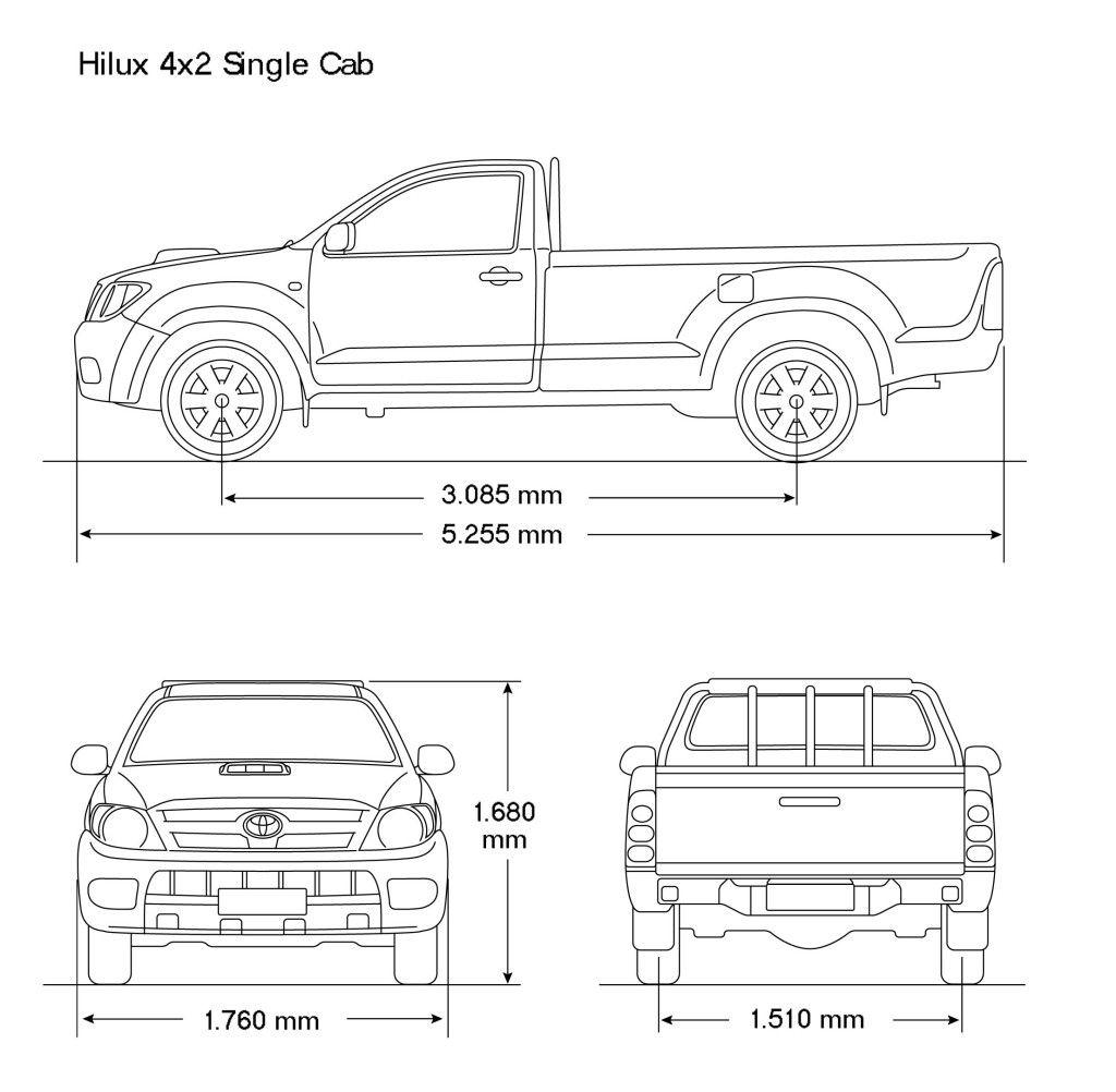 Toyota Hilux 2008 Blueprint Download Free Blueprint For 3d Modeling Mobil Sketsa Gambar