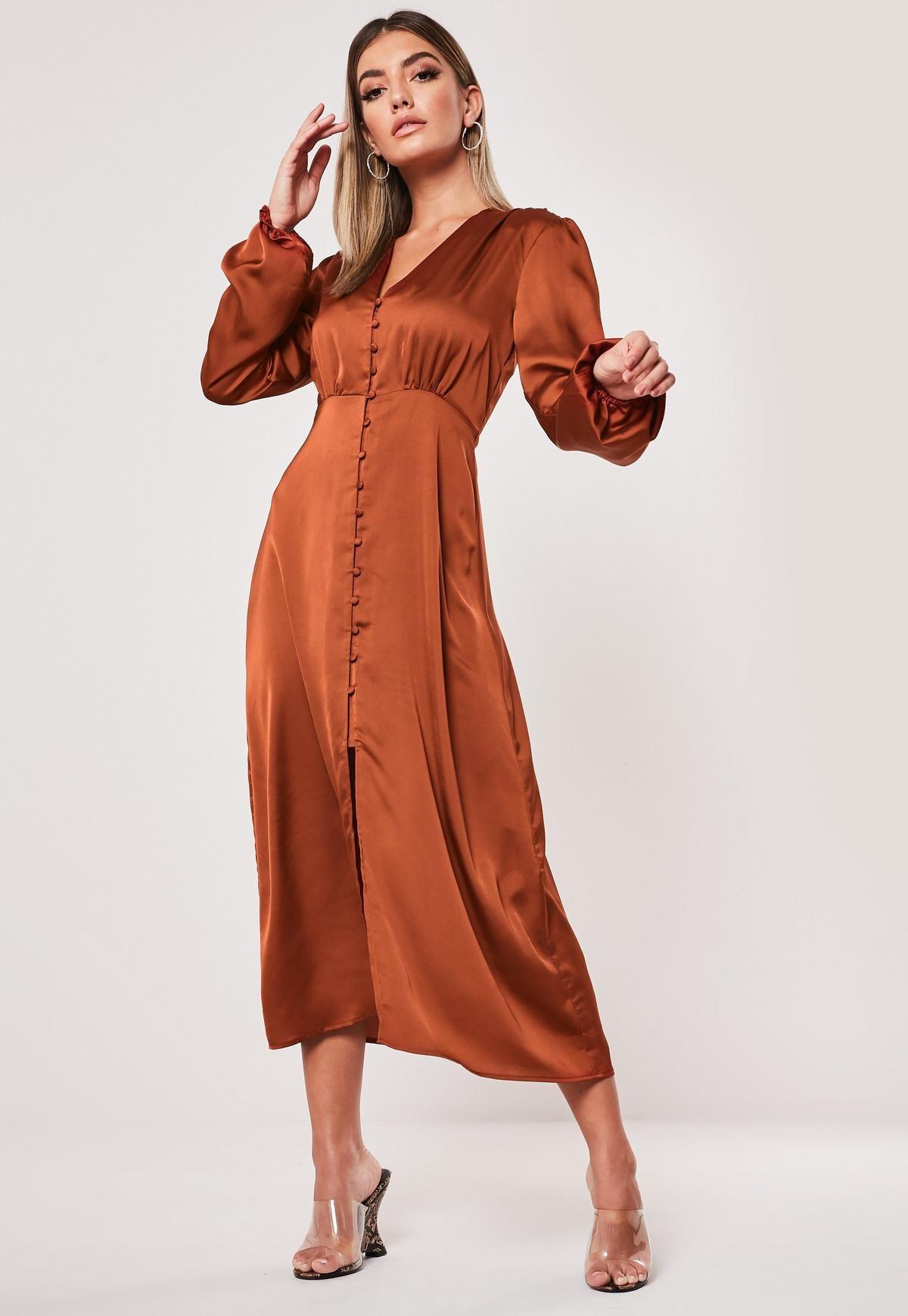Rust Milkmaid Button Front Satin Midi Dress Missguided Orange Long Sleeve Dress Satin Midi Dress Satin Dresses [ 1739 x 1200 Pixel ]