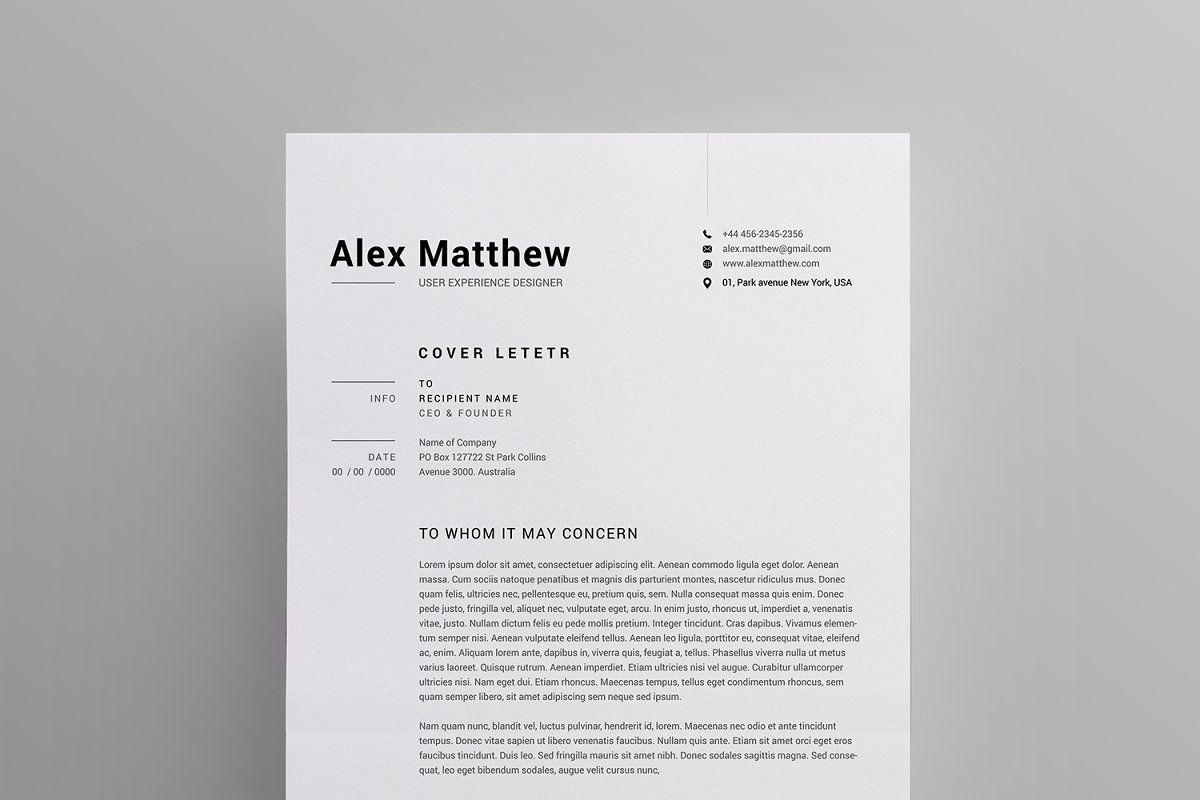 Resumecv By Reuix Studio On At Creativemarket Professional Resume