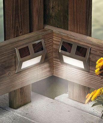 Set Of 2 Solar Wedge Lights Solar Step Lights Fence