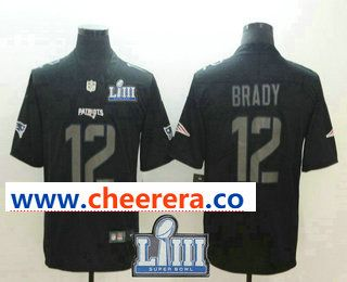 a731e9dc558 Men s New England Patriots  12 Tom Brady Black 2019 Super Bowl LIII Patch  Fashion Impact Black Color Rush Stitched NFL Nike Limited Jersey