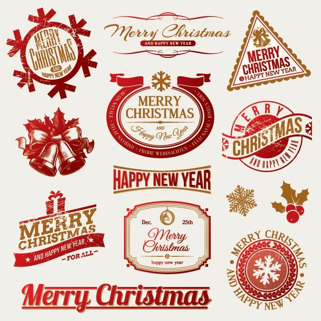 Free Vector illustration of Merry Christmas Decorative Emblem ...