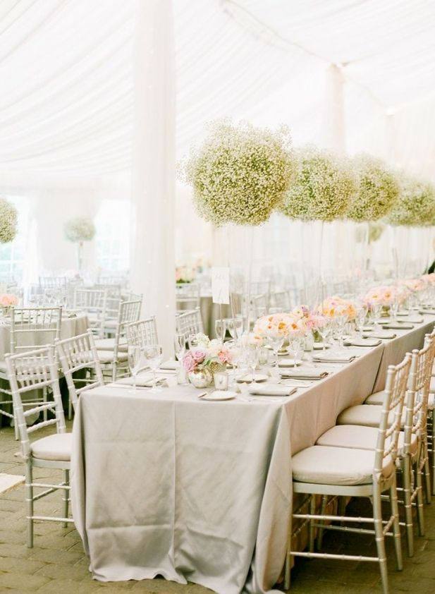 Gorgeous white tent with baby's breath centerpieces Concept only- don't like the BB