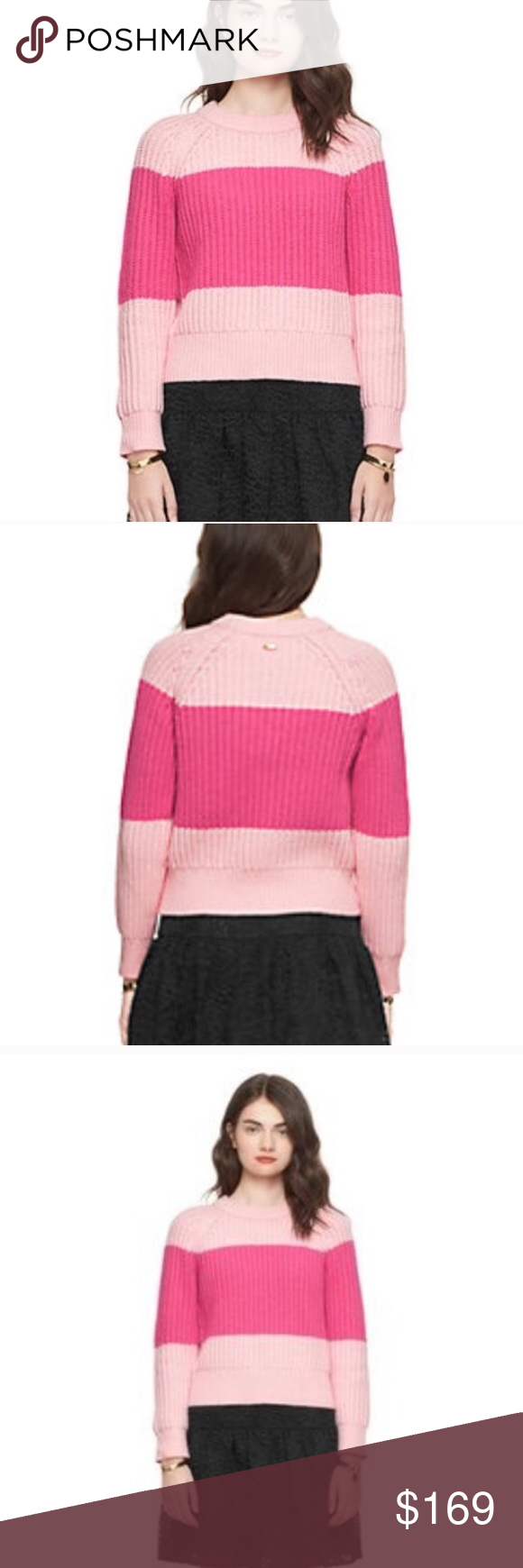 Kate spade knit striped pastry pink crew sweater nwt | Pink ...