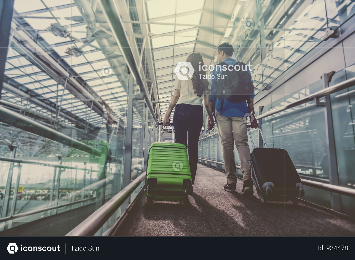 Asian Couple Traveler With Suitcases At The Airport Lover Travel