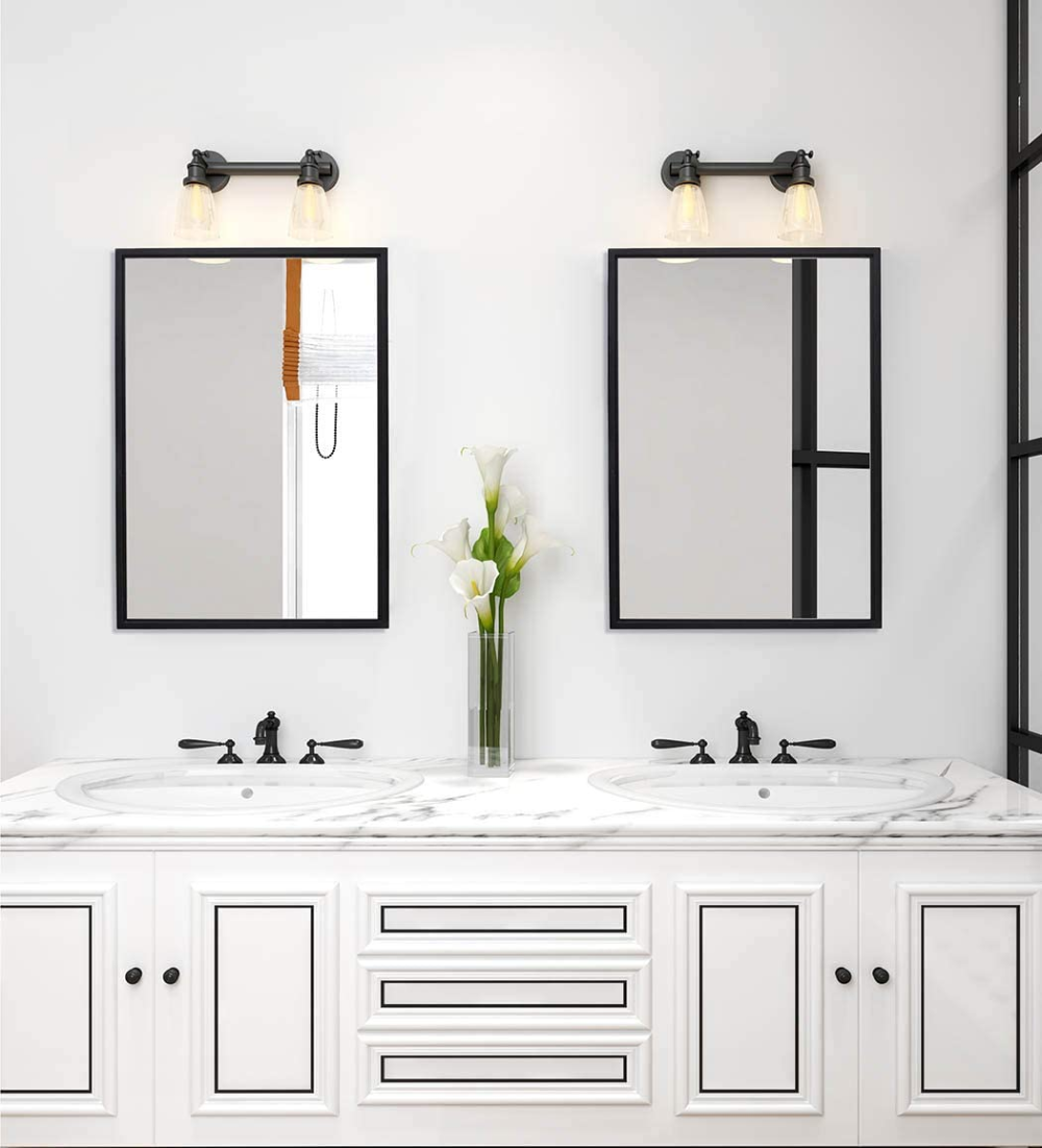 Amazonsmile Bathroom Mirror Clean Large Modern Black Frame Wall Mirror 30x40 Inch Contemporary In 2020 Black Bathroom Mirrors Framed Mirror Wall Black Mirror Frame